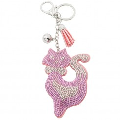 Porte-Clés Chat Strass Rose