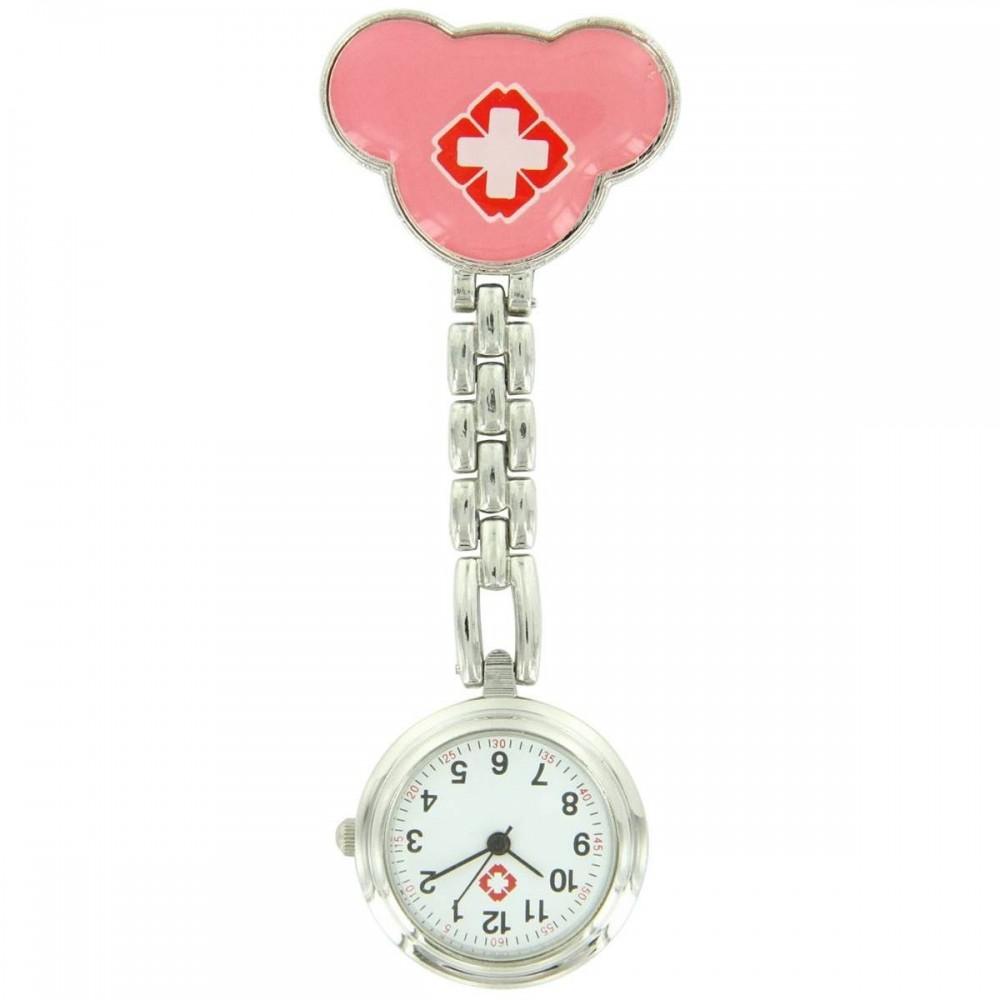 Montre Pour Infirmière Acier Inoxydable Rose Pince 22